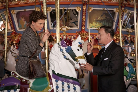 P.L. Travers and Walt Disney on the merry go round at Disneyland from the Walt Disney Pictures film Saving Mr. Banks