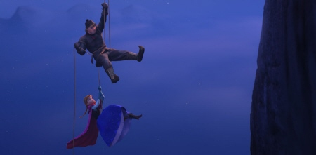 Kristoff and Anna rappel down a cliff from the Walt Disney Pictures film Frozen