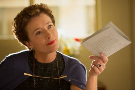 P.L. Travers with the rights papers for Mary Poppins from the Walt Disney Pictures film Saving Mr. Banks