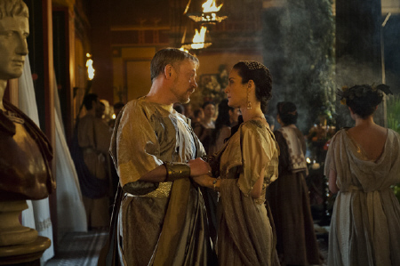 Jared Harris and Carrie Ann Moss from the Sony Pictures film Pompeii