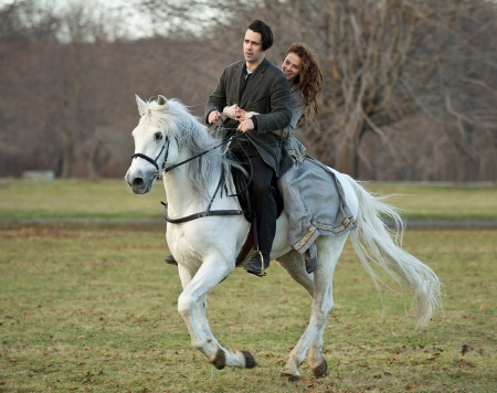 Peter and Beverley ride Horse from the Warner Bros. Pictures film Winters Tale