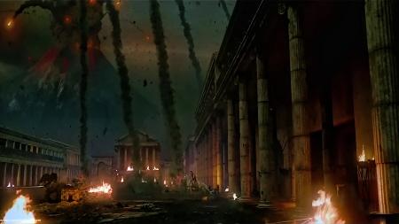 Vesuvius spews rocks from the Sony Pictures film Pompeii
