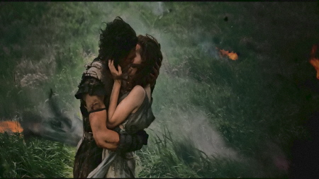 Milo and Cassia kiss from the Sony Pictures film Pompeii