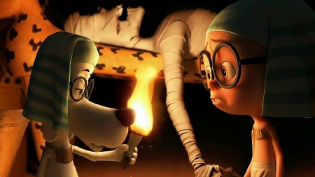 Sherman holds a mummy hand from the Dreamworks Pictures film Mr. Peabody and Sherman