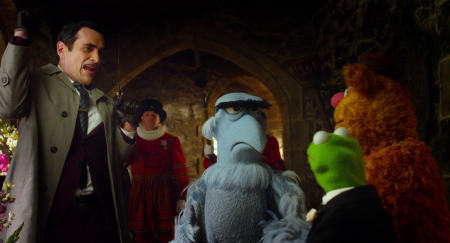 Sam Eagle and Ty Burrell catch Constantine from the Walt Disney Pictures film Muppets Most Wanted