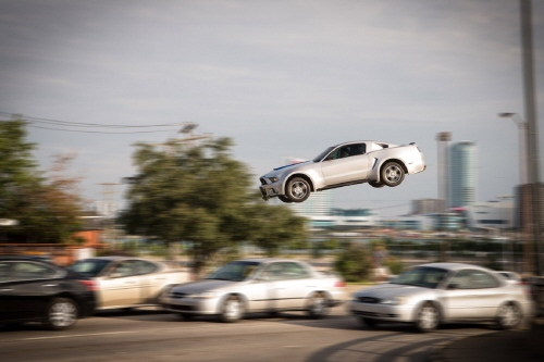 the Mustang is airborne from the Walt Disney Pictures film Need for Speed