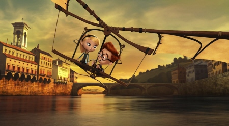 Penny and Sherman fly a Leonardo da Vinci machine from the Dreamworks Pictures film Mr. Peabody and Sherman