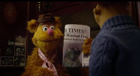 Fozzy and Walter are suspicious from the Walt Disney Pictures film Muppets Most Wanted