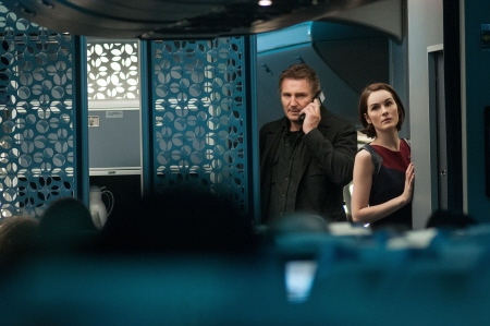 Liam Neeson and Michelle Dockery from the Universal Pictures film Non-Stop
