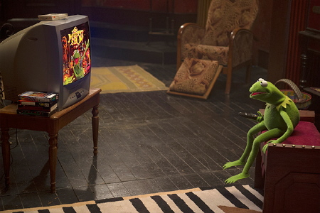 Constantine studies Kermit videos from the Walt Disney Pictures film Muppets Most Wanted
