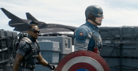 Falcon and Cap from the Marvel Studios film Captain America Winter Soldier