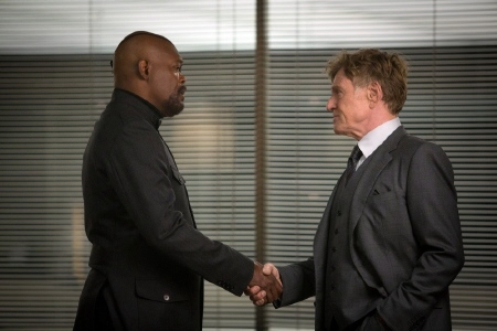 Nick Fury and Alexander Pierce from the Marvel Studios film Captain America Winter Soldier