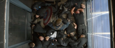 Cap in the elevator from the Marvel Studios film Captain America Winter Soldier