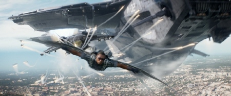 Falcon in action from the Marvel Studios film Captain America Winter Soldier