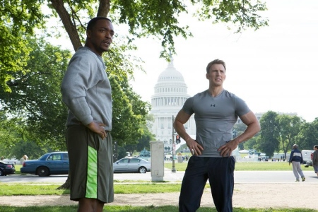 Sam Wilson and Steve Rogers go running together from the Marvel Studios film Captain America Winter Soldier