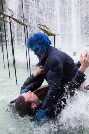 Beast drowns Erik in a fountain from the Twentieth Century Fox film X-Men Days of Future Past