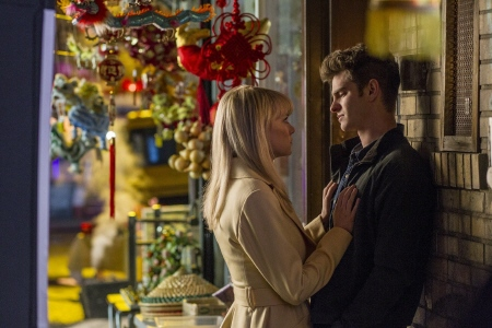 Emma Stone and Andrew Garfield  from the Sony Pictures film Amazing Spider-man 2