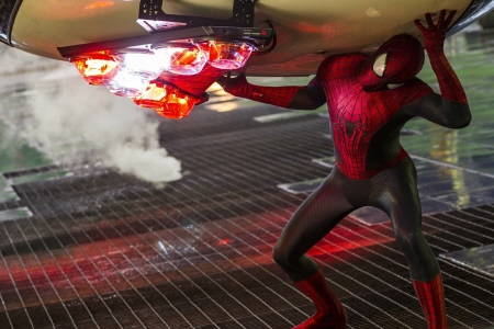 Spider-man catches a cop car  from the Sony Pictures film Amazing Spider-man 2