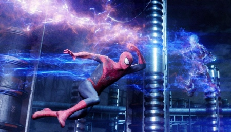 Spider-man battles Electro  from the Sony Pictures film Amazing Spider-man 2
