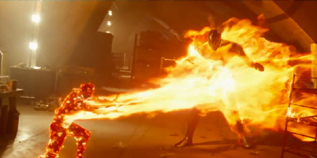 Sunspot fights a Sentinel from the Twentieth Century Fox film X-Men Days of Future Past
