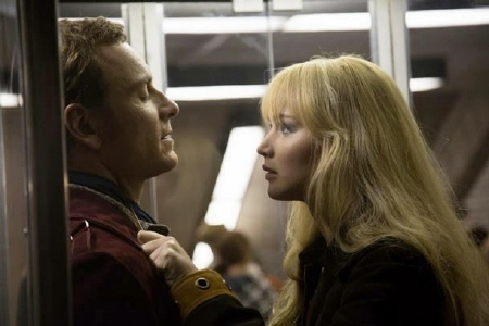 Michael Fassbender and Jennifer Lawrence from the Twentieth Century Fox film X-Men Days of Future Past