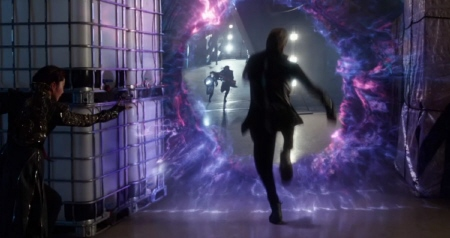 Blink fights with portals from the Twentieth Century Fox film X-Men Days of Future Past