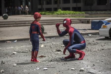 Spider-man and Jorge from the Sony Pictures film Amazing Spider-man 2
