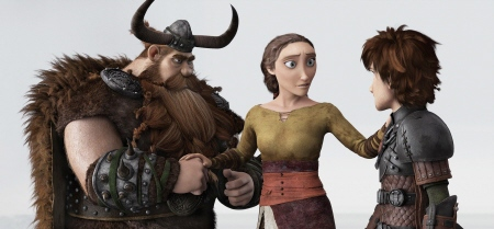 Stoik, Valka, and Hiccup from the Dreamworks Pictures film How to Train Your Dragon 2