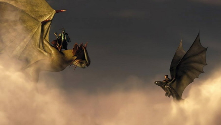 Mystery dragonrider encounters Hiccup from the Dreamworks Pictures film How to Train Your Dragon 2