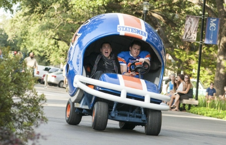 Schmidt and Jenko drive a helmet car from the Columbia Pictures movie 22 Jump Street