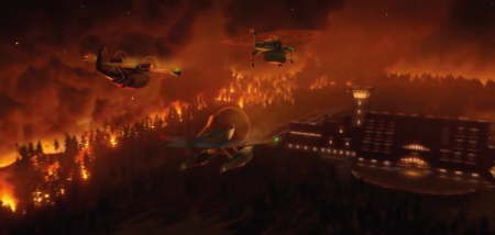Fusa Lodge on fire from the Disney film Planes Fire and Rescue