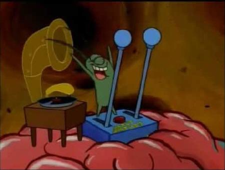 Plankton controlling Spongebob's brain