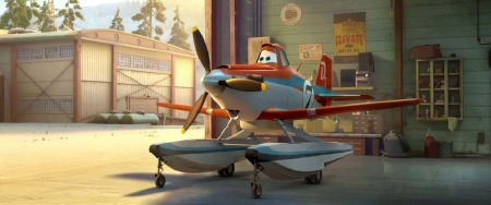 Dusty gets pontoons from the Disney film Planes Fire and Rescue