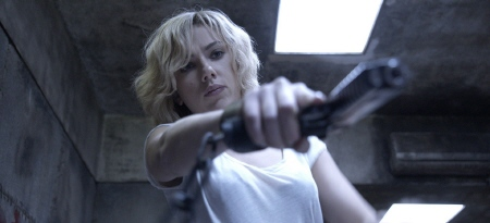 Lucy holds a gun wrong from the Universal Pictures Film Lucy