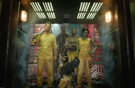 Star Lord, Groot, Rocket, Drax and Gamora break out of the Kyln from the Marvel Studios film Guardians of the Galaxy