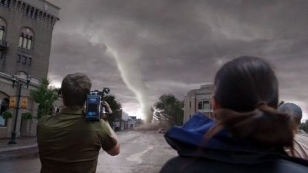 filming a tornado from the Warner Bros. film Into the Storm