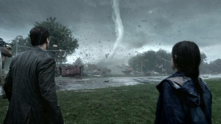 Gary and Allison watch a tornado from the Warner Bros. film Into the Storm