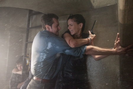 Richard Armitage and Sarah Wayne Callies from the Warner Bros. film Into the Storm