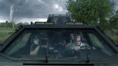 Tornado chasers in a tank from the Warner Bros. film Into the Storm