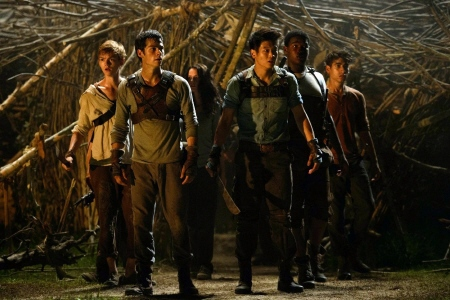 Runners in the council hall from the 20th Century Fox film Maze Runner