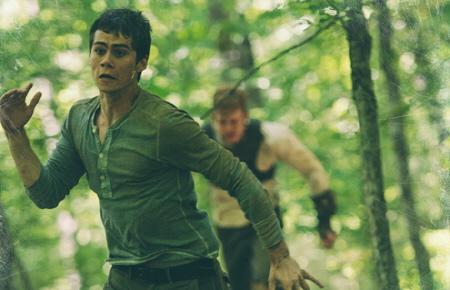 Thomas runs from Ben from the 20th Century Fox film Maze Runner