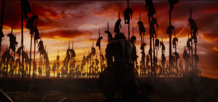 Vlad the Impaler with a village on spikes from the Legendary Pictures film Dracula Untold