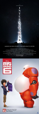 posters for Interstellar and Big Hero 6