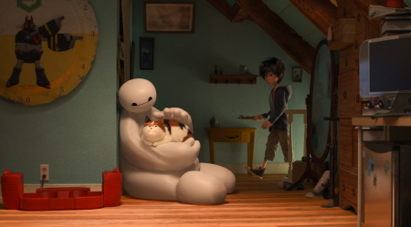 Baymax and the cat from the Disney film Big Hero